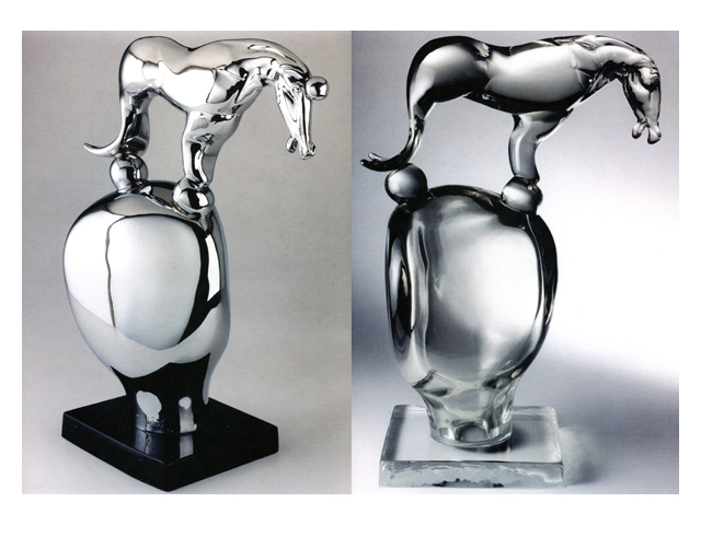 Equus-Aqua 2003, Bronze Chrome/Glass, 60x41x24cm