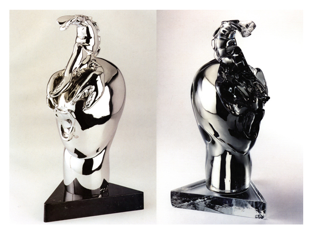 Alien Bride 2003, Bronze Chrome/Glass, 48x25x18cm