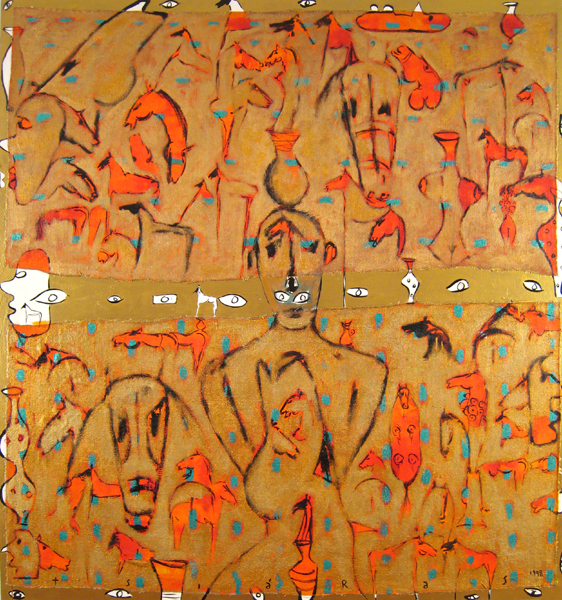 Greeks and The Irrational, 1998 Mixed media on canvas 76x70 in/193x178 cm