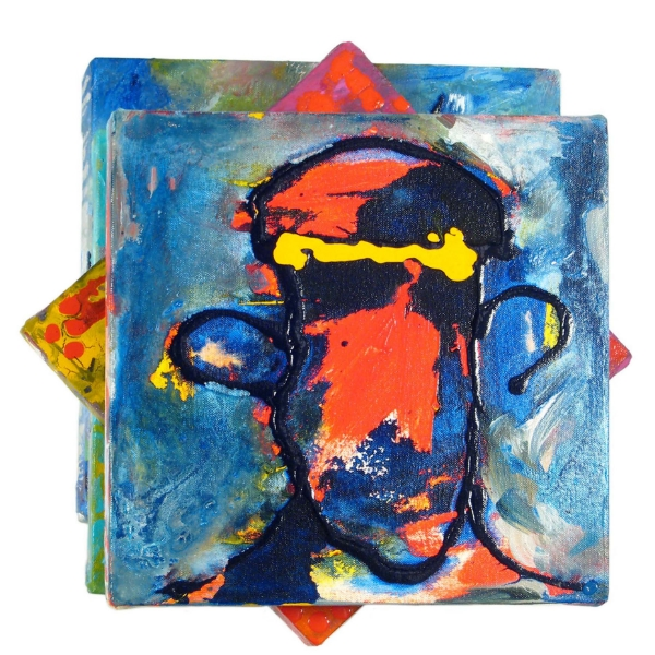 Blue Prince (sandwich), 2007 Mixed media on canvas, 5 panels 14 x 14 x 5 in / 35 x 35 x 13 cm