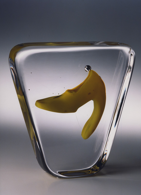 "Yellow Tongue, 2001 Glass Sculpture  10x9x3""/ 25x24x7.5 cm"