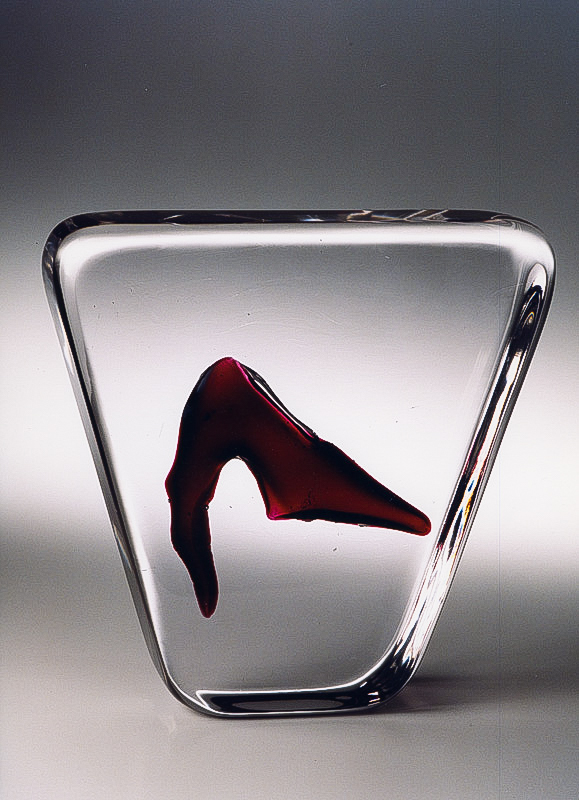 "Red Finger, 2001 Glass Sculpture  10x10x3""/ 25x26x8 cm"