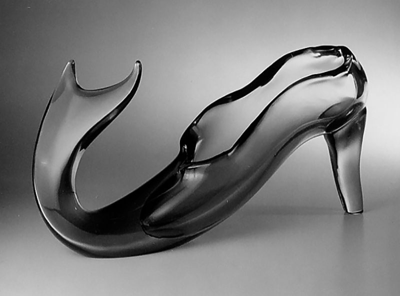 "Shoe Fish, 2001 Glass Sculpture  12x20x6""/ 30x53x15 cm"
