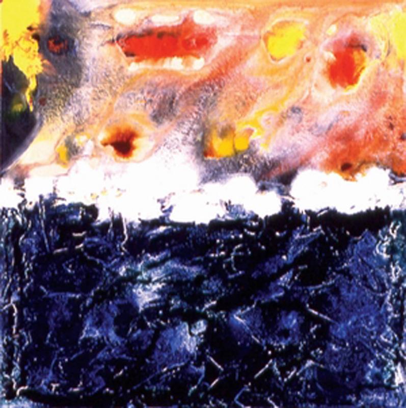 Wet Horrizon, 1998 Mixed media on canvas 14x14 in / 35x35 cm