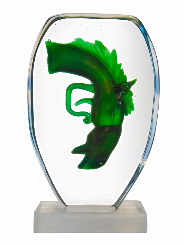 Green Horse Gun, Hand made glass sculpture