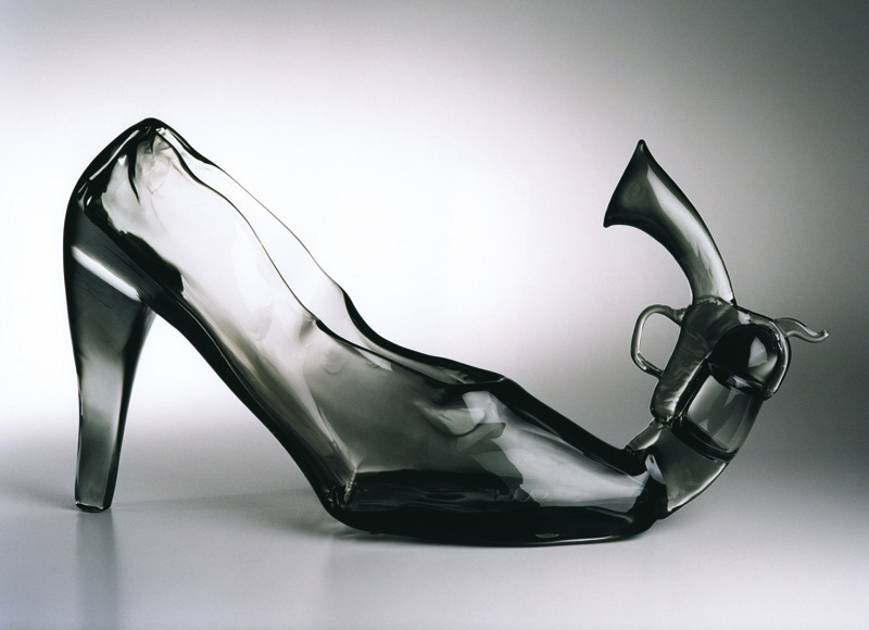 "Pistol Shoe, 2001 Glass Sculpture  25x14x6""/ 65x35x15 cm"