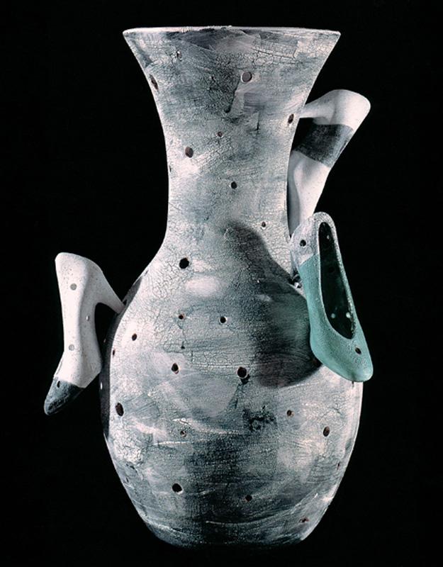 "Social Climber, 1993 Ceramic Sculpture  27x19x15""/ 68x49x39 cm"