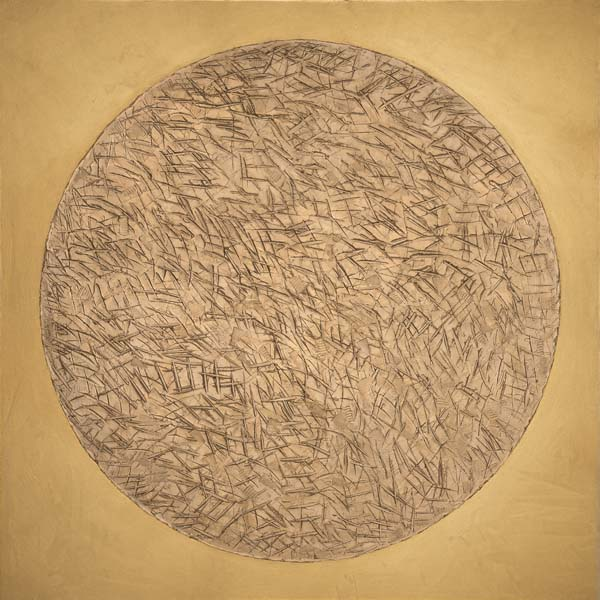 Zen Disk, Mixed media on canvas 78x76 in / 198x193 cm