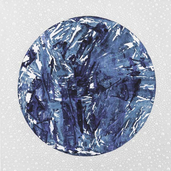 Blue White Sphere, 2014 Mixed media on canvas 28x28 in/71x71 cm