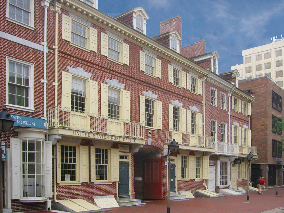 The houses and print shop owned by Ben Franklin still exist on Market Street in Philadelphia.