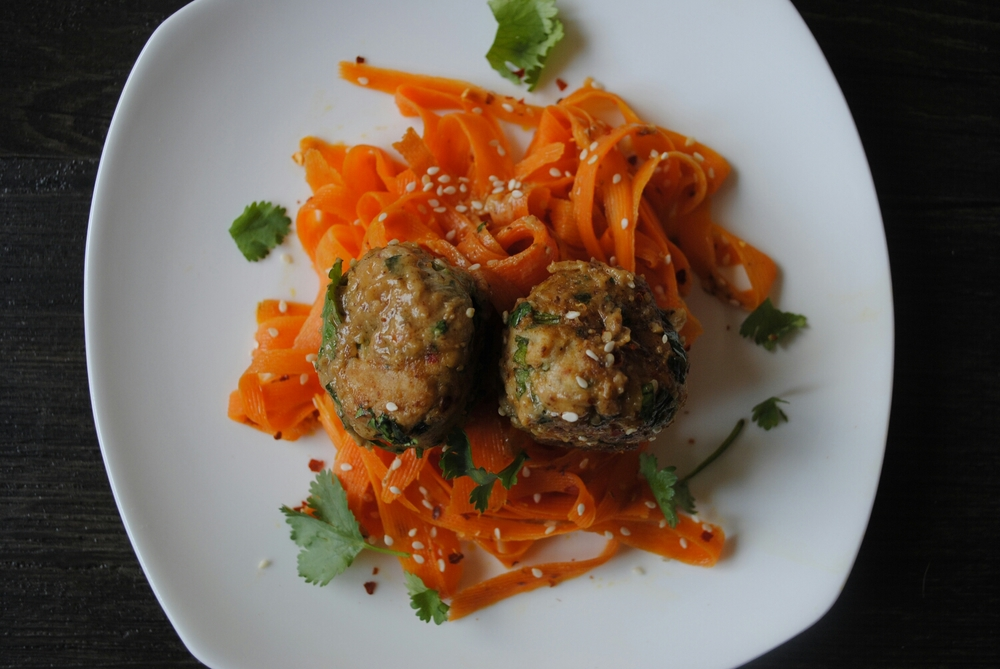 Thai chicken meatballs with almond sauce