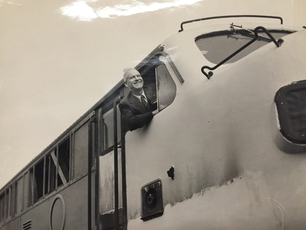 Billy Jones aboard a train.