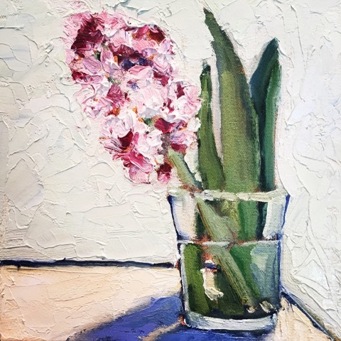 Linda Smythe,  Hyacinth, oil on board, 2016
