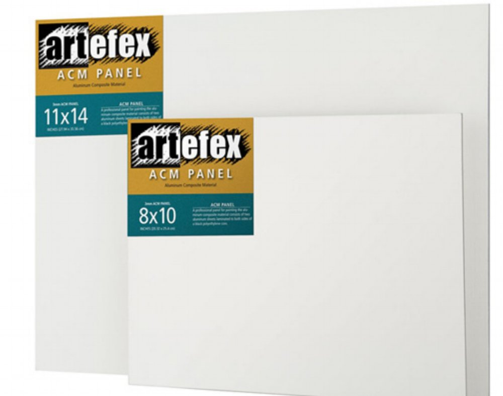 Artefex Rigid Panels for Drawing & Painting - Two-sided aluminum composite sheets laminated to a solid core, available in a variety of sizes, primed and unprimed. Ideal for a variety of paint and drawing mediums and applications for mounting fabrics, papers and polyester films including acrylic, drawing (charcoal, ink and silverpoint), encaustic and wax, tempera, watercolor or gouache.