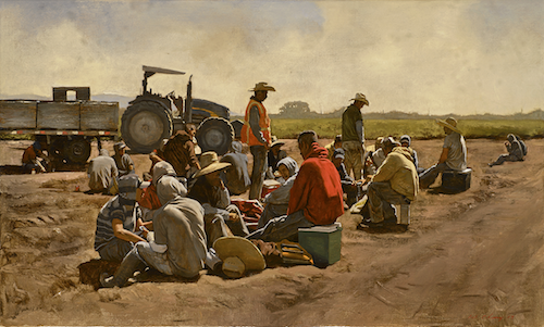 "Warren Chang,  Lunch Break , Oil on canvas, 40"" by 24"", Courtesy of Monterey Museum of Art"