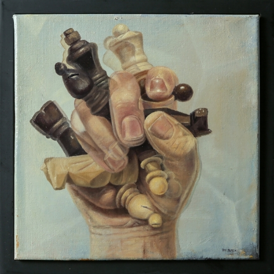 Portrait of a Hand Gently Clenching Several Wooden Chess Pieces  12x12 - Oil on Canvas $800