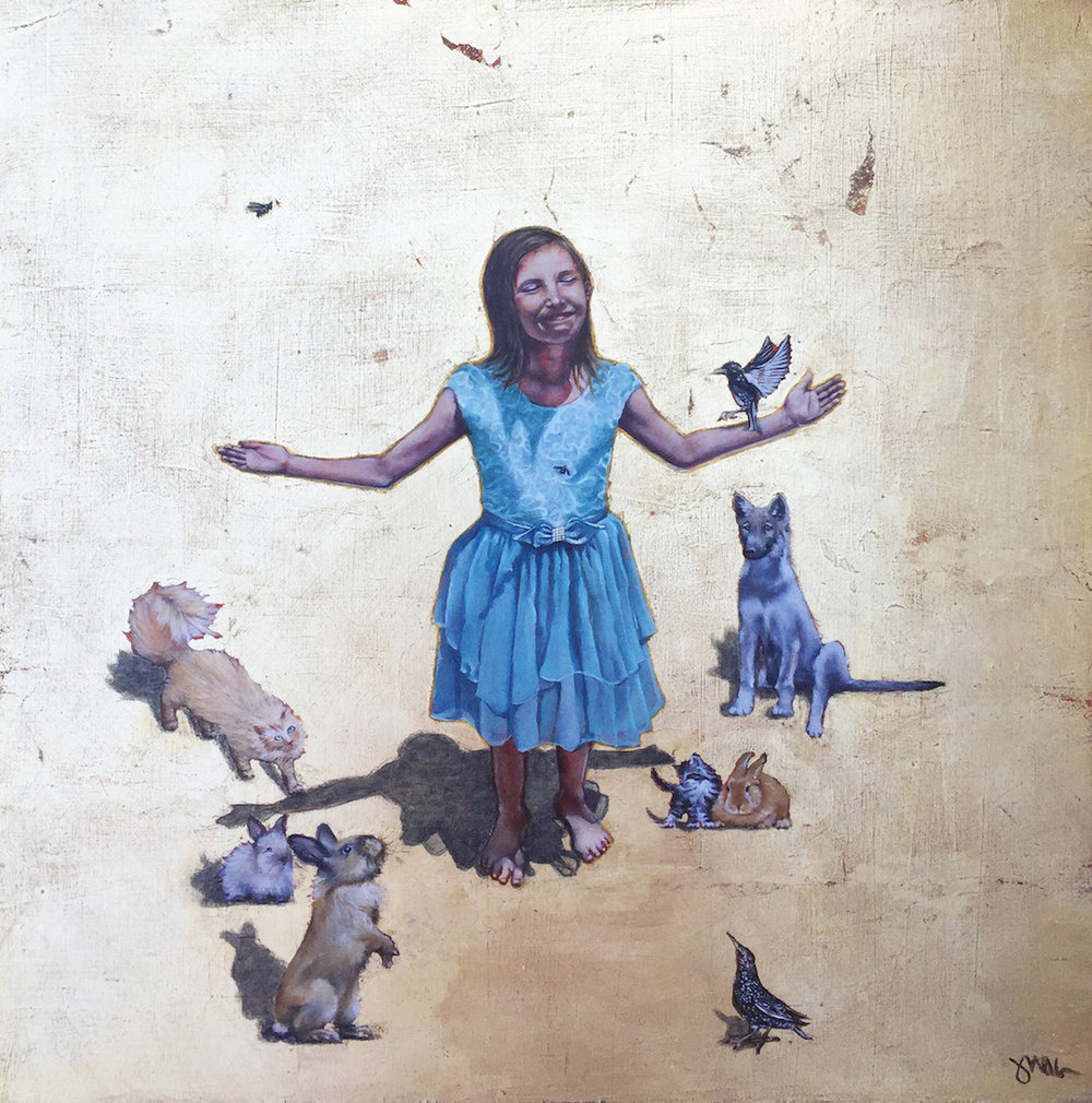 "Judith Ann Miller -""Divinity of Innocence"" - 20x20x2""- $2,000"