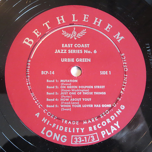 "Urbie Green - ""East Coast Jazz Series No. 6"" - Label"