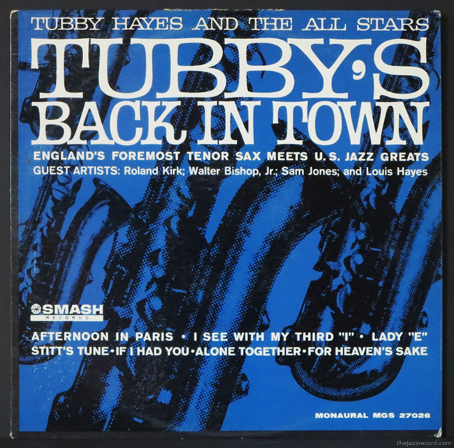 "Tubby Hayes - ""Tubby's Back In Town"" - LP Front Cover"