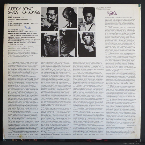 Woody Shaw - Song Of Songs - Back Cover