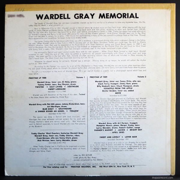 "Wardell Gray - ""memorial, Vol One"" - Back Cover"