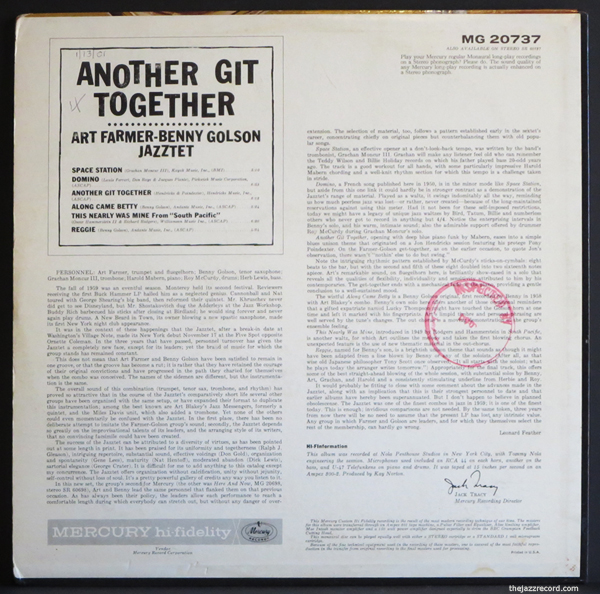 Art Farmer-Benny Golson-Jazztet-Back Cover -LP