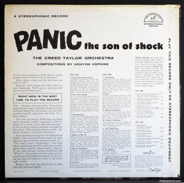 "The Creed taylor Orchestra - ""Panic: The Son Of Shock"" - LP Back Cover"
