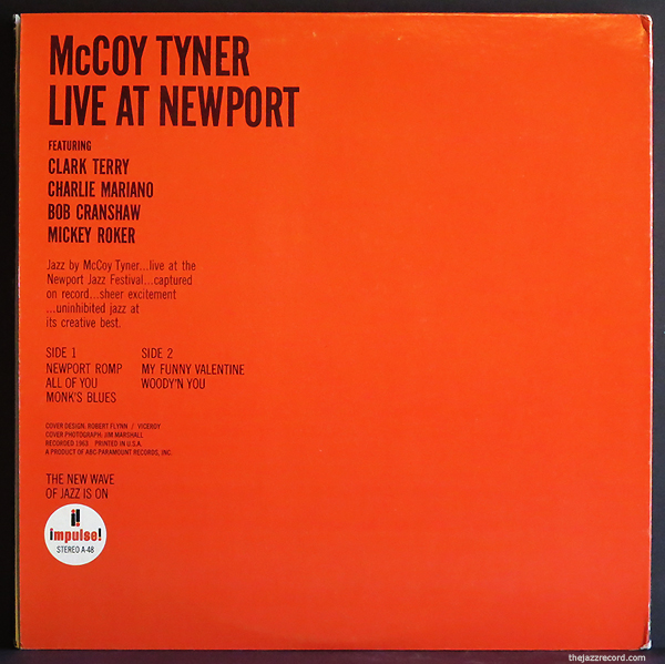 McCoy Tyner - Live At Newport - LP Back lCover