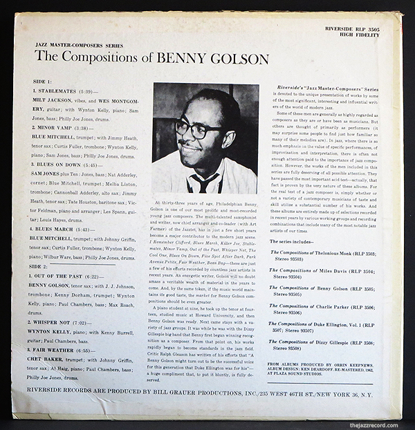 Compositions Of Benny Golson - LP Back Cover