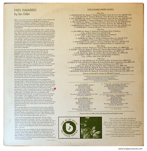 Fats Navarro - Prime Source - Back Cover - Vinyl LP