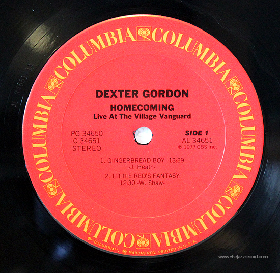 Dexter Gordon - Homecoming - Label - Vinyl