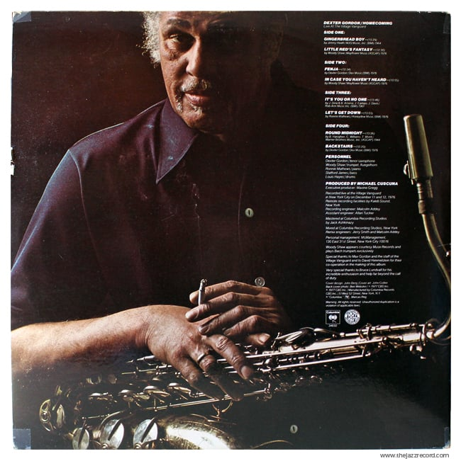 Dexter Gordon - Homecoming - Back Cover - Vinyl