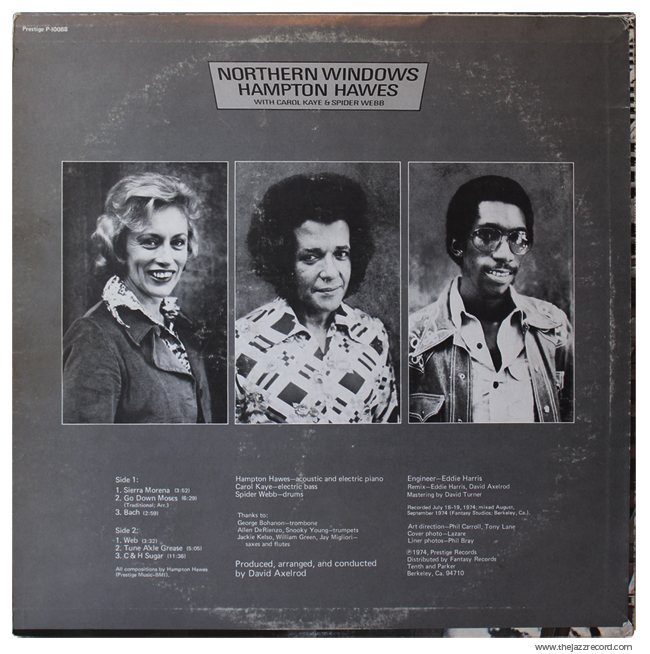 Hampton Hawes - Northern Windows - Back Cover Vinyl