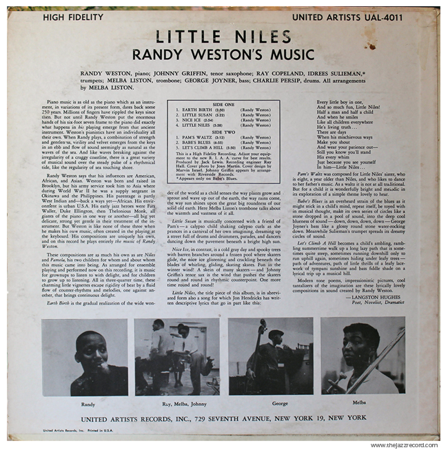 Randy Weston - Little Niles - Vinyl Back Cover