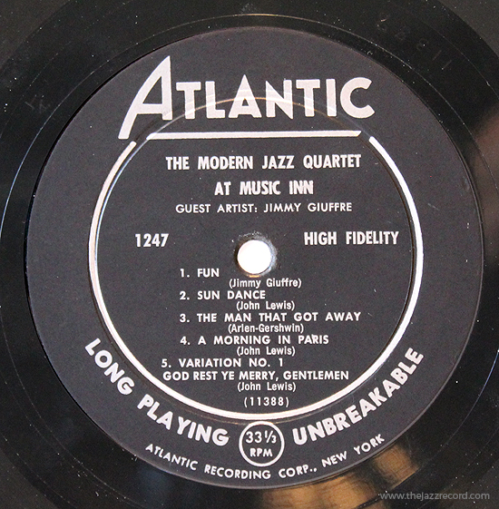 The Modern Jazz Quartet At Music Inn With Jimmy Guiffre - LAbel Vinyl