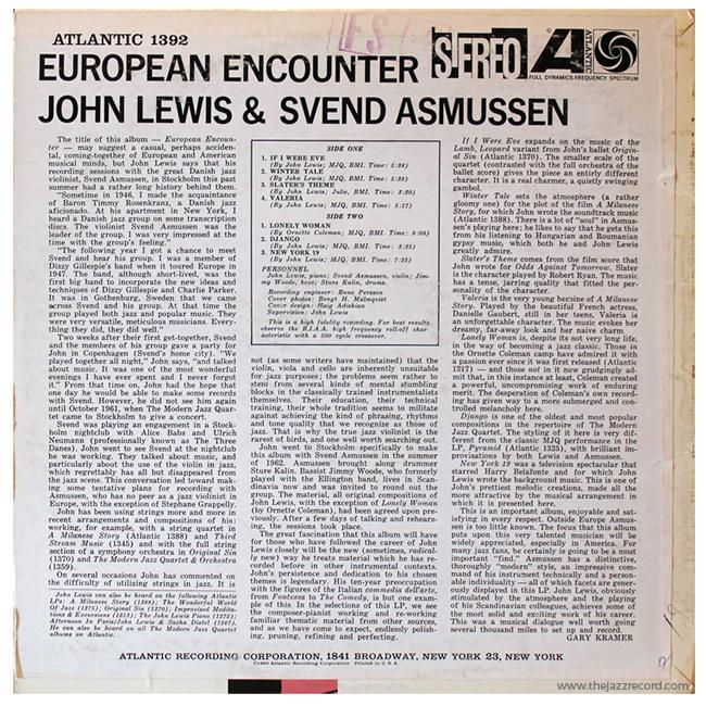 John Lewis & Svend Asmussen - European Encounter - Back Cover Vinyl LP
