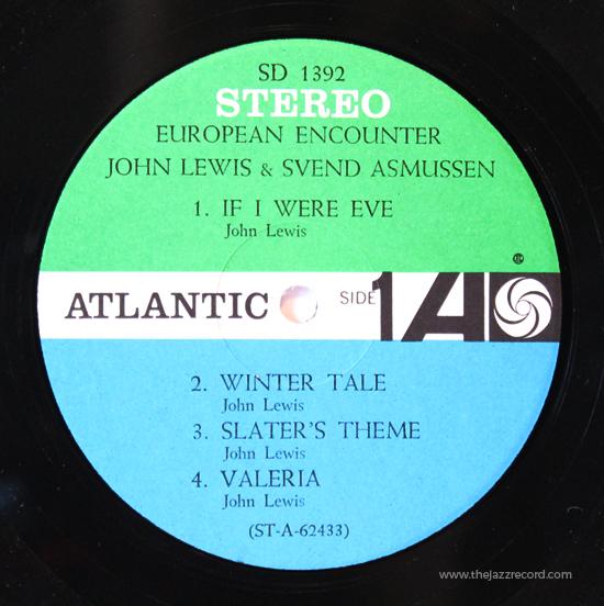 John Lewis & Svend Asmussen - European Encounter - Label Vinyl LP