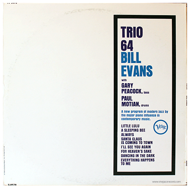 Bill Evans - Trio 64 - Back Cover - Vinyl