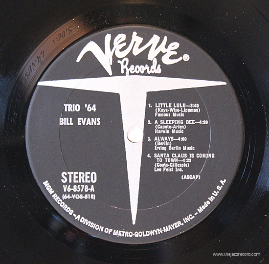Bill Evans - Trio 64 - Vinyl Label