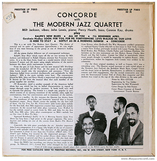 The Modern Jazz Quartet - Concorde - Vinyl BaCK COVER