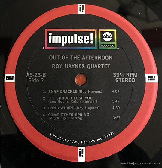 Roy Haynes Quartet - Out Of The Afternoon - Vinyl Label