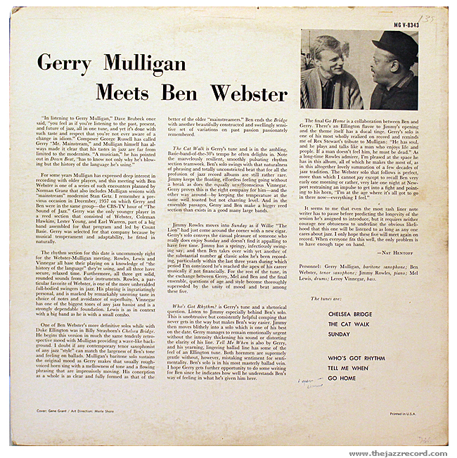 Gerry Mulligan Meets BEn Webster - Back Cover Vinyl