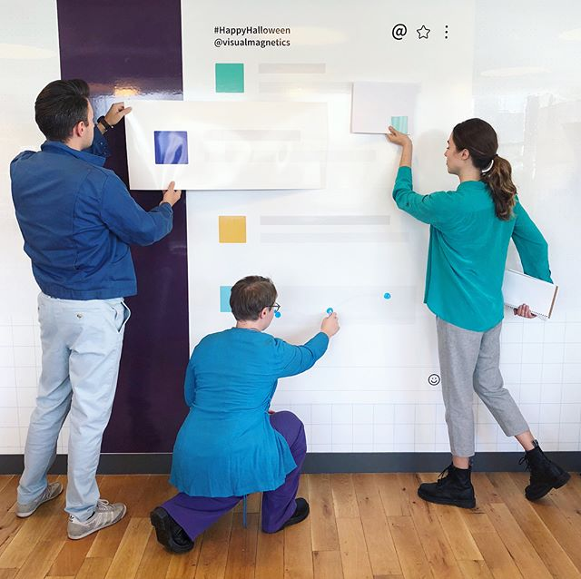Visual Magnetics is Slack for Halloween! Our team custom printed our magnetic dry erase wallpaper to be our favorite *digital* collaboration platform @slackhq #slackhalloween #slack #costume #wework #Halloween #weworkhalloween