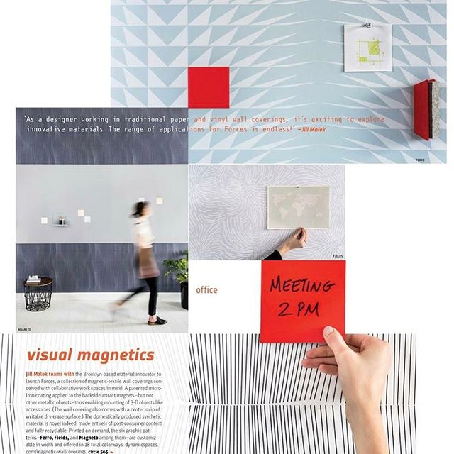 Grateful for a full page feature on our Forces magnetic wall covering collection with @jillmalek in @interiordesignmag ✨ find us on page 170! #wallcoveringwednesday