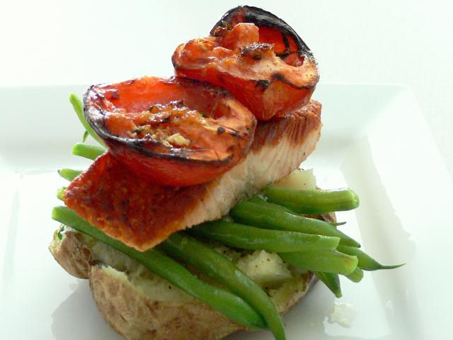 Roast Salmon with Oven Dried Tomatoes from the meal planning menu