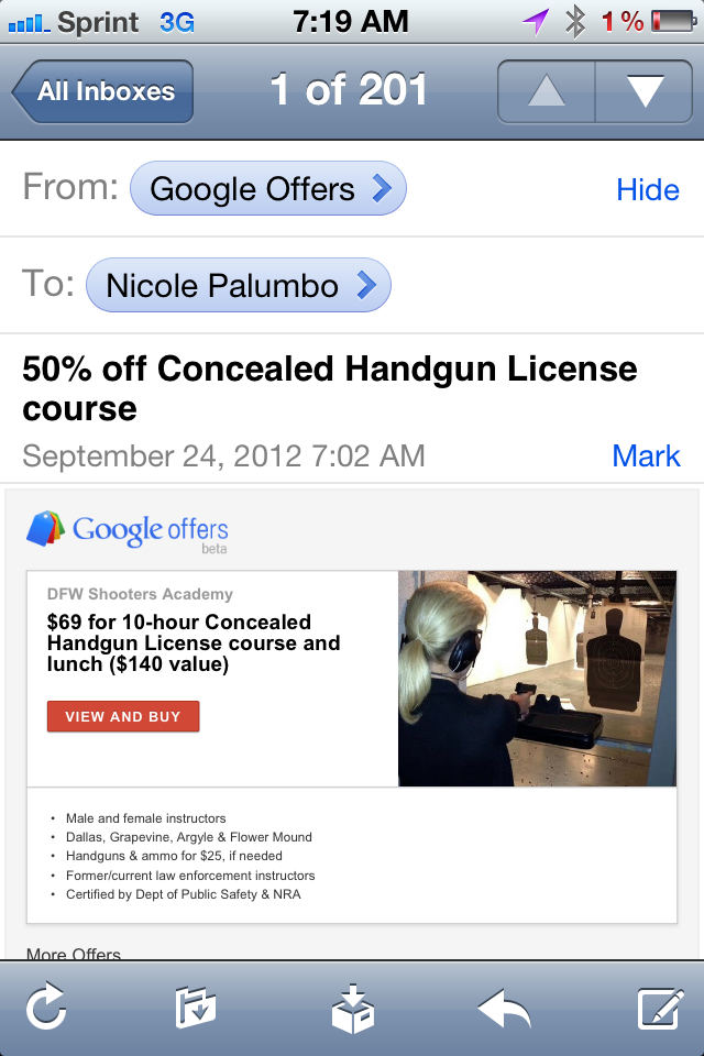 Finally, an offer based on my Google search history.