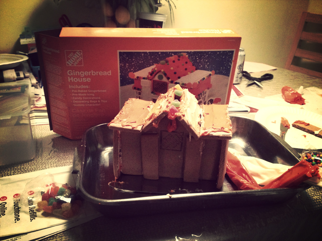 Our Home Depot gingerbread house.    Should've hired a contractor.