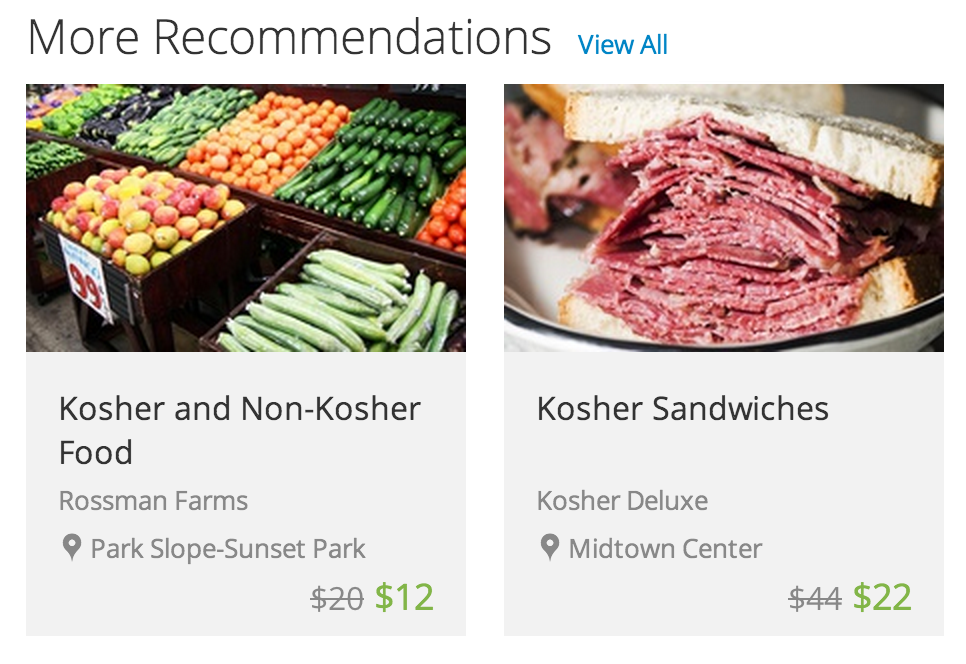 More recommendations for whom, exactly, Groupon?   Though, I can live with those prices.