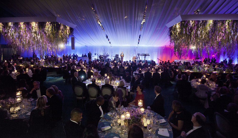 White House State Dinner for President François Hollande of France. South Lawn of the White House, Washington, DC. Associate Design and programming for Arc3design. Lighting design by Al Crawford.