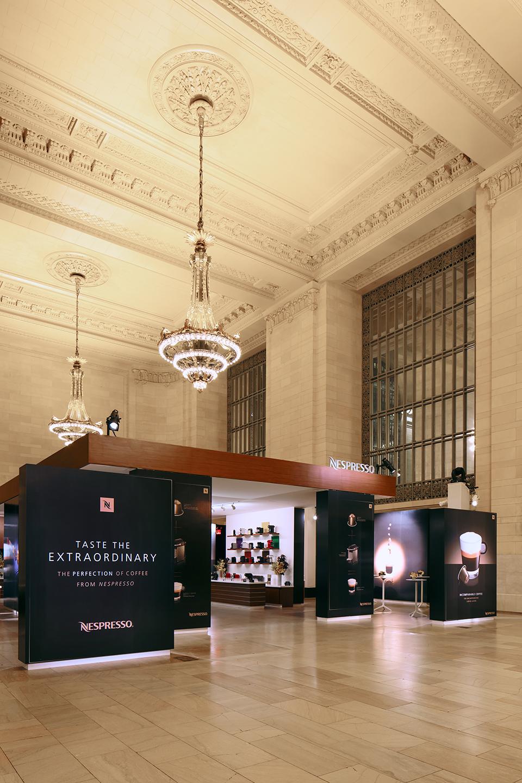 Nespresso Pop Up Event. Vanderbilt Hall, Grand Central Terminal, NY.Associate Design and programming for Arc3design. Lighting design by Al Crawford.